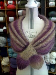 Chauffe épaule femme dégradé de beige/violine : mohair, coton et laine | Mercerie Fil A point à Sens 89