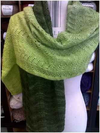 Etole dégradé de vert : soie, laine et baby alpaga | Mercerie Fil A point à Sens 89